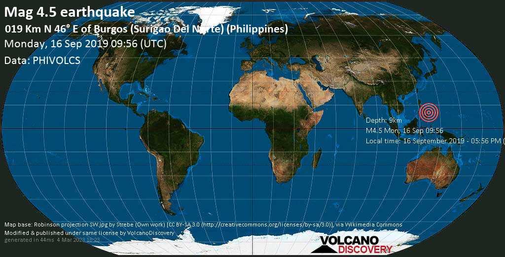 Leichtes Erdbeben der Stärke 4.5 - 019 km N 46° E of Burgos (Surigao Del Norte) (Philippines) am Montag, 16. Sep. 2019