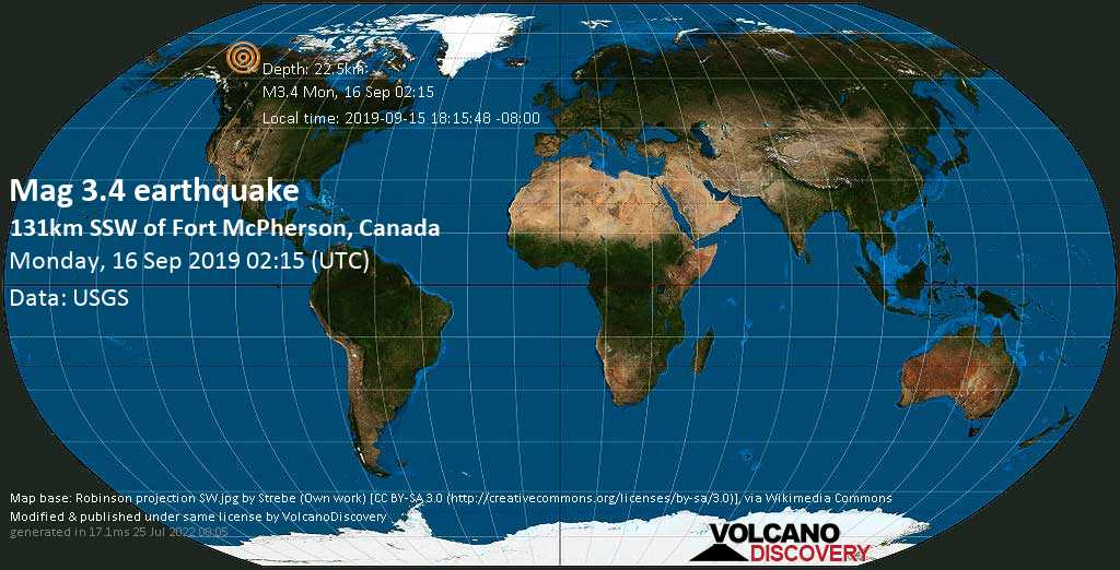 Minor mag. 3.4 earthquake  - 131km SSW of Fort McPherson, Canada on Monday, 16 September 2019