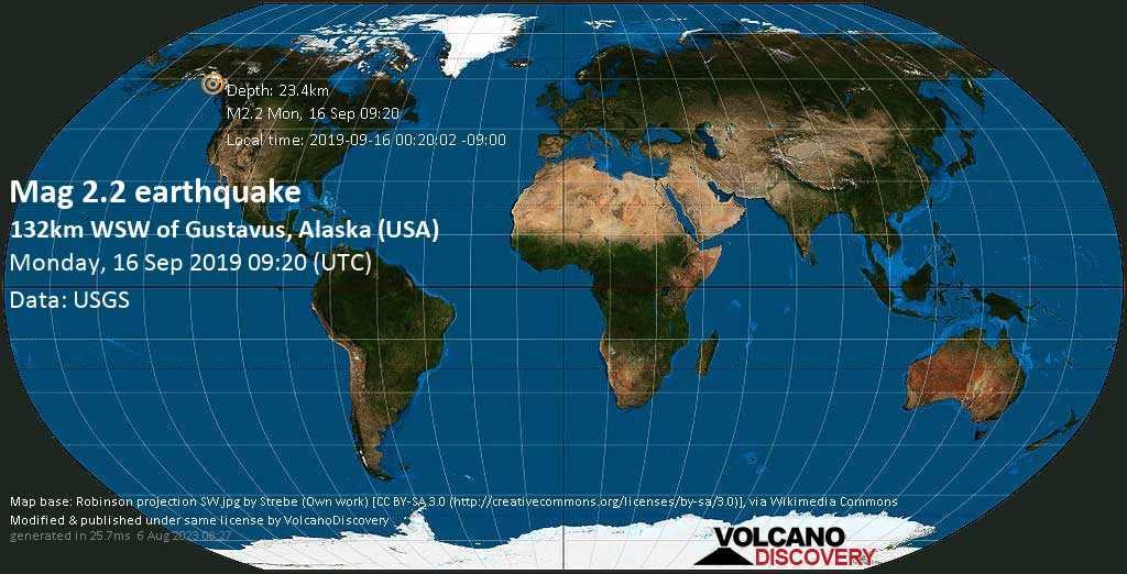 Minor mag. 2.2 earthquake  - 132km WSW of Gustavus, Alaska (USA) on Monday, 16 September 2019