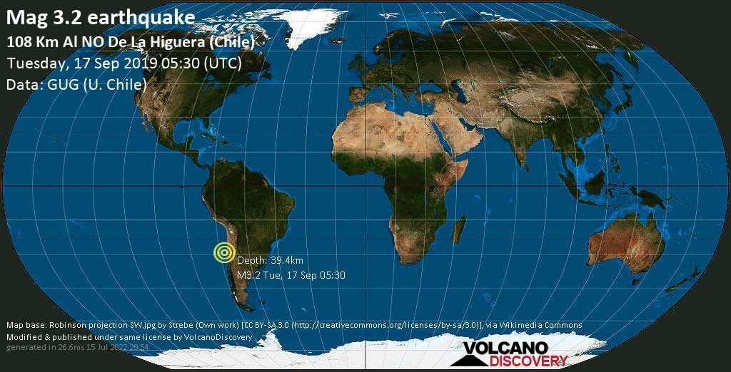 Minor mag. 3.2 earthquake  - 108 km al NO de La Higuera (Chile) on Tuesday, 17 September 2019