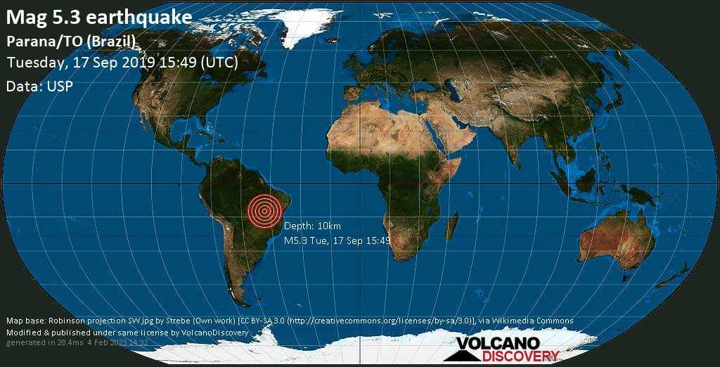 Moderates Erdbeben der Stärke 5.3 - Parana/TO (Brazil) am Dienstag, 17. Sep. 2019