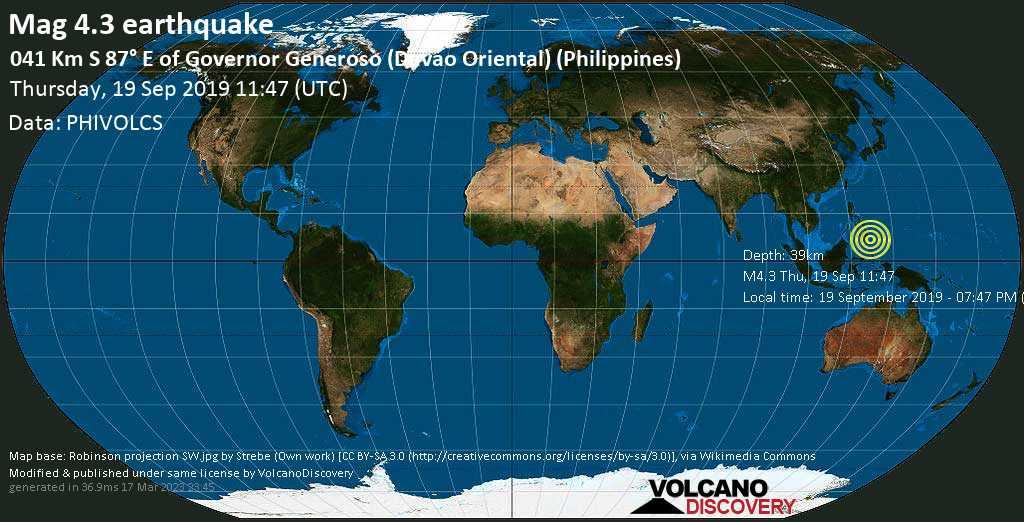 Leichtes Erdbeben der Stärke 4.3 - 041 km S 87° E of Governor Generoso (Davao Oriental) (Philippines) am Donnerstag, 19. Sep. 2019