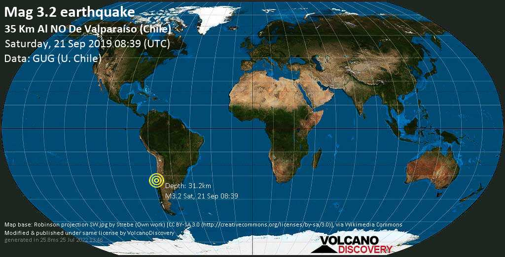 Minor mag. 3.2 earthquake  - 35 km al NO de Valparaíso (Chile) on Saturday, 21 September 2019
