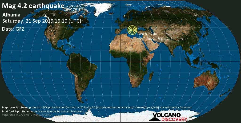 Light mag. 4.2 earthquake  - Albania on Saturday, 21 September 2019