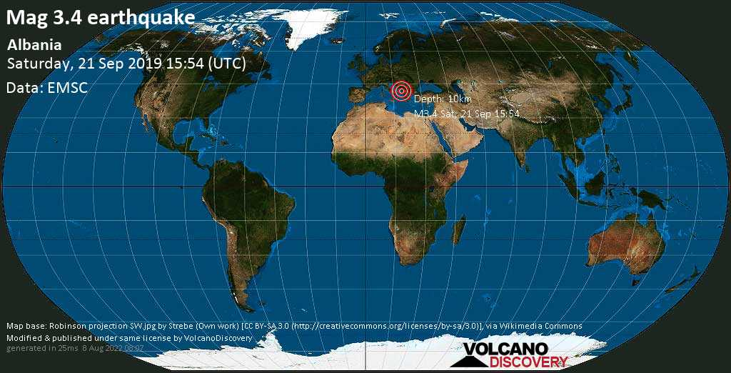 Minor mag. 3.4 earthquake  - Albania on Saturday, 21 September 2019