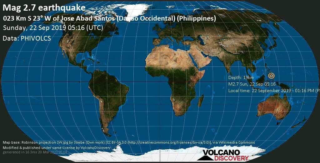 M 2.7 quake: 023 km S 23° W of Jose Abad Santos (Davao Occidental) (Philippines) on Sun, 22 Sep 05h16