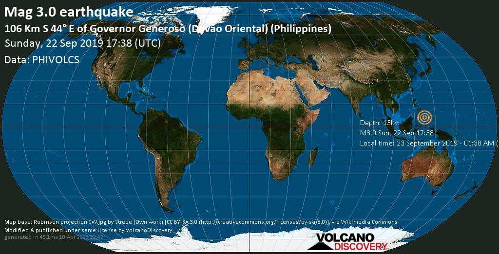 Schwaches Erdbeben der Stärke 3.0 - 106 km S 44° E of Governor Generoso (Davao Oriental) (Philippines) am Sonntag, 22. Sep. 2019