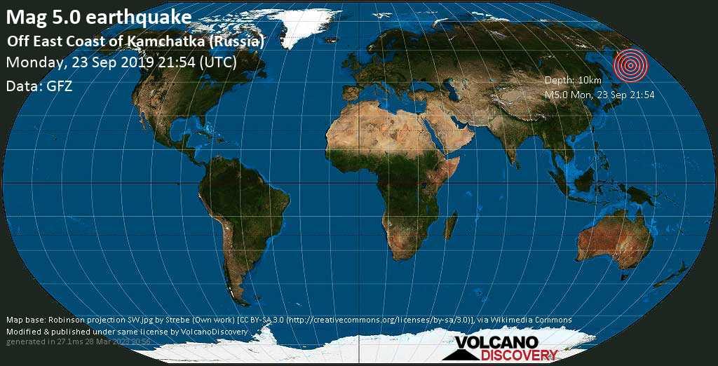 Moderates Erdbeben der Stärke 5.0 - Off East Coast of Kamchatka (Russia) am Montag, 23. Sep. 2019