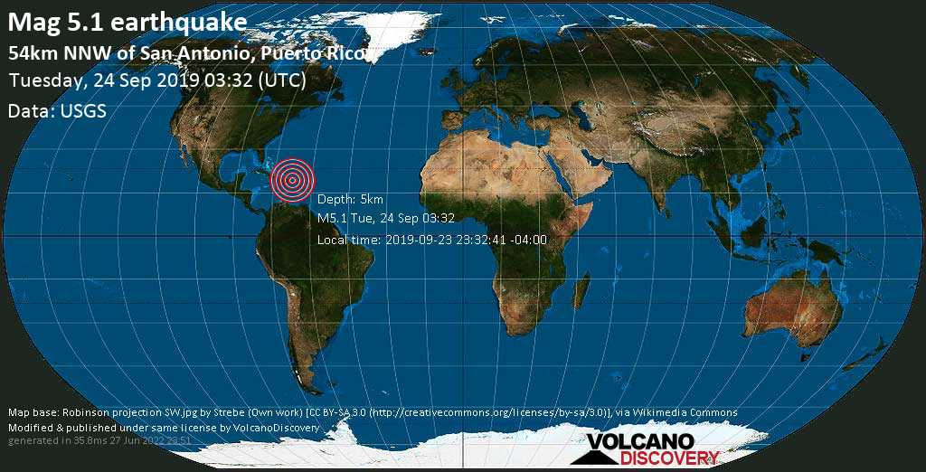Moderate mag. 5.1 earthquake  - 54km NNW of San Antonio, Puerto Rico on Tuesday, 24 September 2019