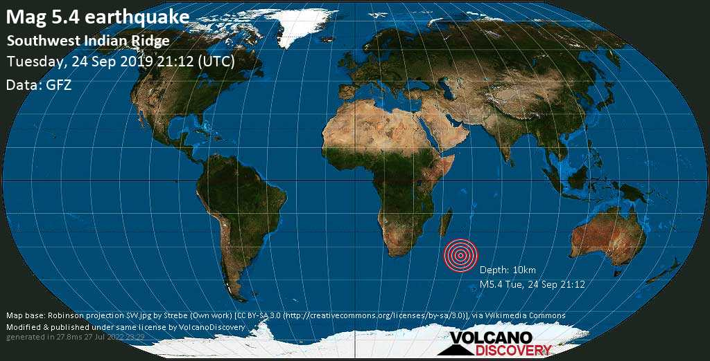Moderate mag. 5.4 earthquake  - Southwest Indian Ridge on Tuesday, 24 September 2019
