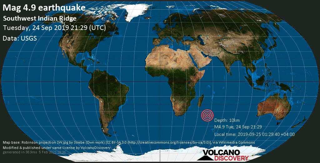 Light mag. 4.9 earthquake  - Southwest Indian Ridge on Tuesday, 24 September 2019