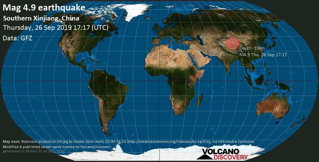 Light mag. 4.9 earthquake  - Southern Xinjiang, China on Thursday, 26 September 2019