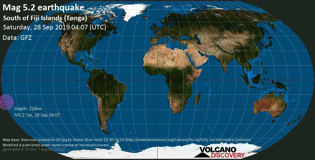 Moderate mag. 5.2 earthquake  - South of Fiji Islands (Tonga) on Saturday, 28 September 2019