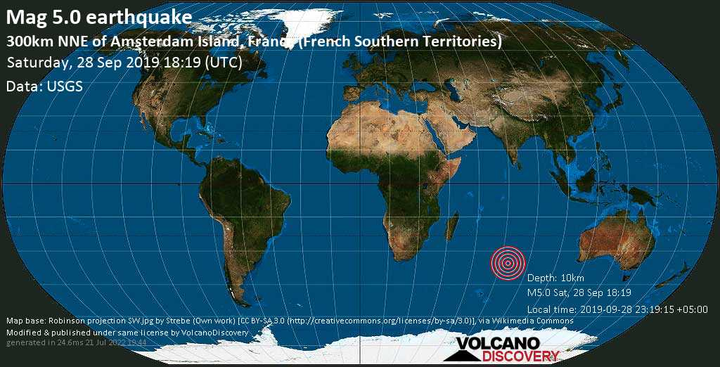 Moderate mag. 5.0 earthquake  - 300km NNE of Amsterdam Island, France (French Southern Territories) on Saturday, 28 September 2019