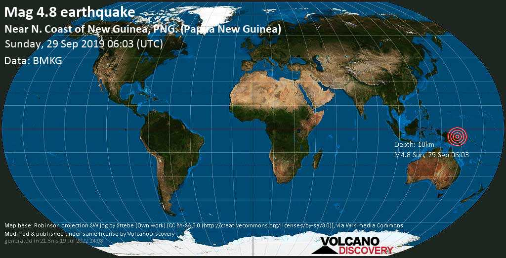 Leve terremoto magnitud 4.8 - Near N. Coast of New Guinea, PNG. (Papua New Guinea) domingo, 29 sep. 2019