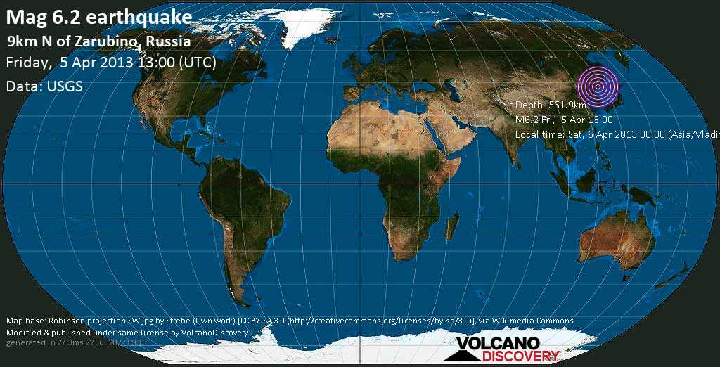 Strong mag. 6.2 earthquake  - 9km N of Zarubino, Russia on Friday, 5 April 2013