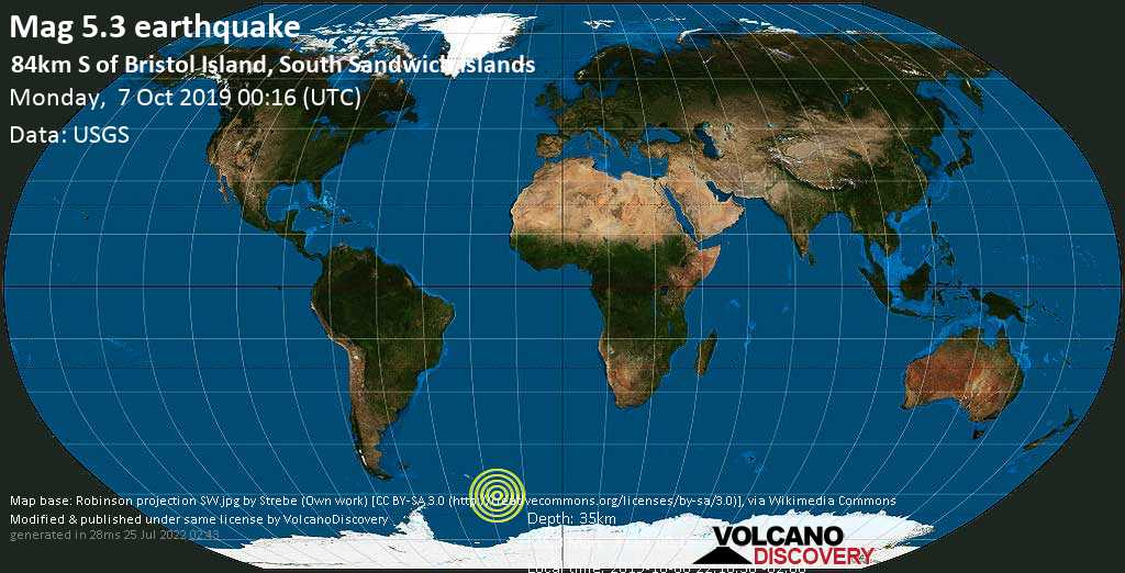 Moderate mag. 5.3 earthquake  - 84km S of Bristol Island, South Sandwich Islands on Monday, 7 October 2019