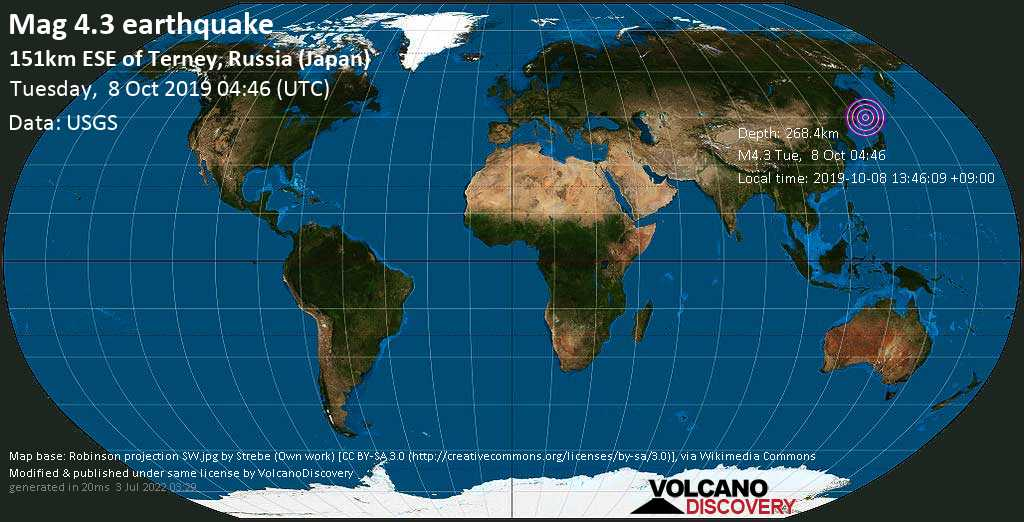 Light mag. 4.3 earthquake  - 151km ESE of Terney, Russia (Japan) on Tuesday, 8 October 2019