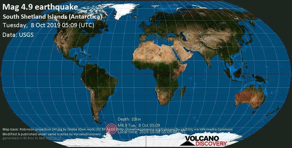 Light mag. 4.9 earthquake  - South Shetland Islands (Antarctica) on Tuesday, 8 October 2019