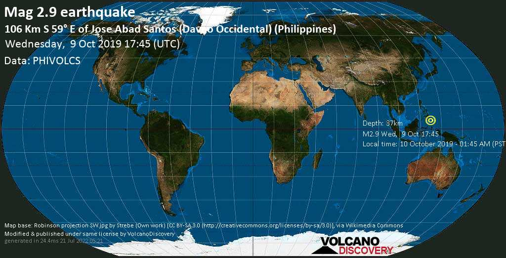 M 2.9 quake: 106 km S 59° E of Jose Abad Santos (Davao Occidental) (Philippines) on Wed, 9 Oct 17h45