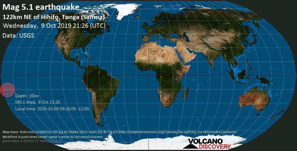 Moderate mag. 5.1 earthquake  - 122km NE of Hihifo, Tonga (Samoa) on Wednesday, 9 October 2019