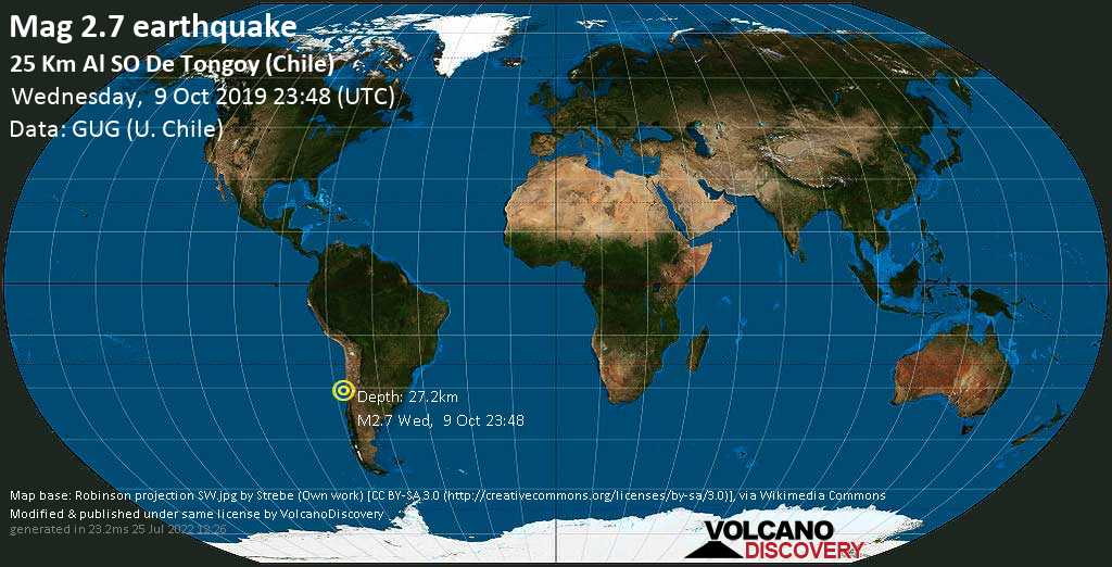 Minor mag. 2.7 earthquake  - 25 km al SO de Tongoy (Chile) on Wednesday, 9 October 2019