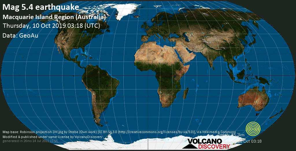 Moderate mag. 5.4 earthquake  - Macquarie Island Region (Australia) on Thursday, 10 October 2019