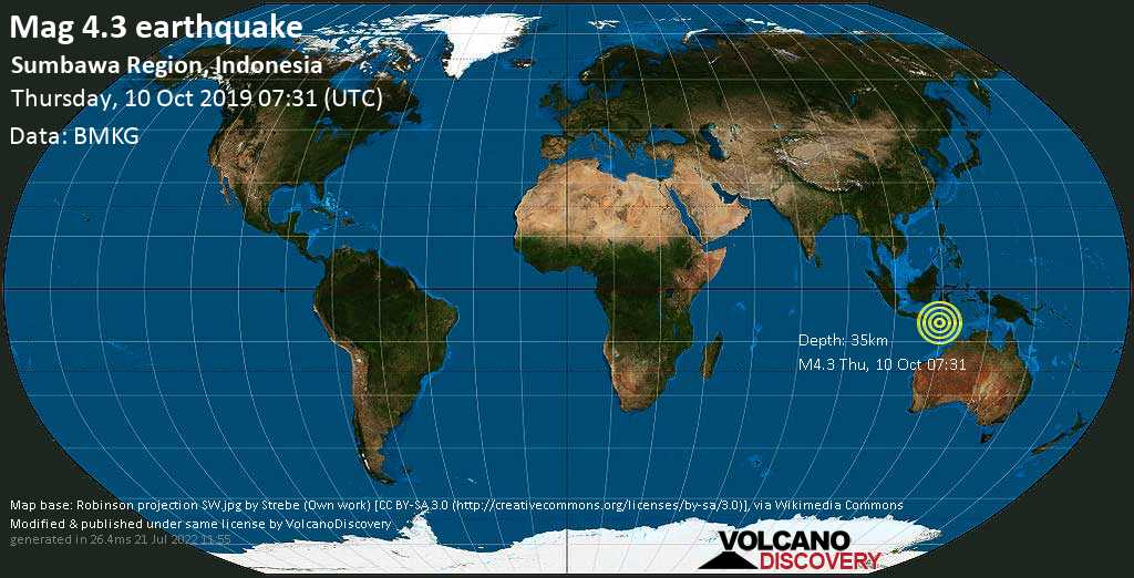 Light mag. 4.3 earthquake  - Sumbawa Region, Indonesia on Thursday, 10 October 2019