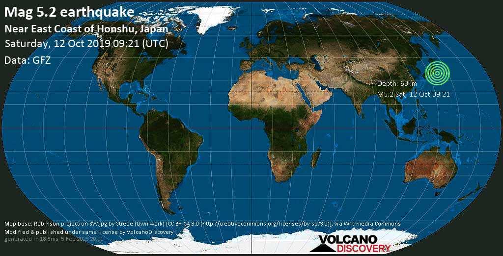 Moderate mag. 5.2 earthquake  - Near East Coast of Honshu, Japan on Saturday, 12 October 2019