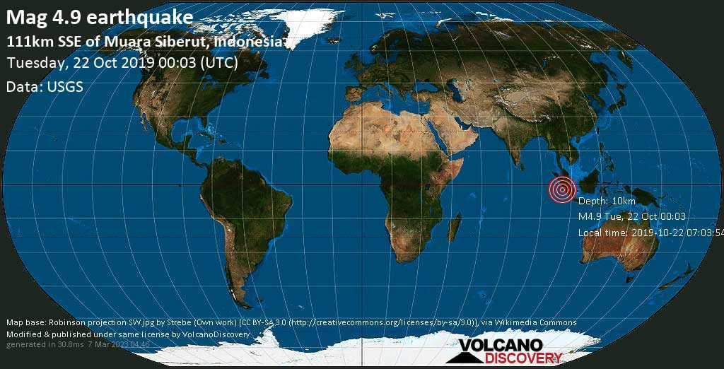 Leggero terremoto magnitudine 4.9 - 111km SSE of Muara Siberut, Indonesia martedí, 22 ottobre 2019