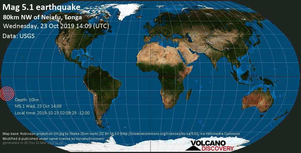 Moderate mag. 5.1 earthquake  - 80km NW of Neiafu, Tonga on Wednesday, 23 October 2019
