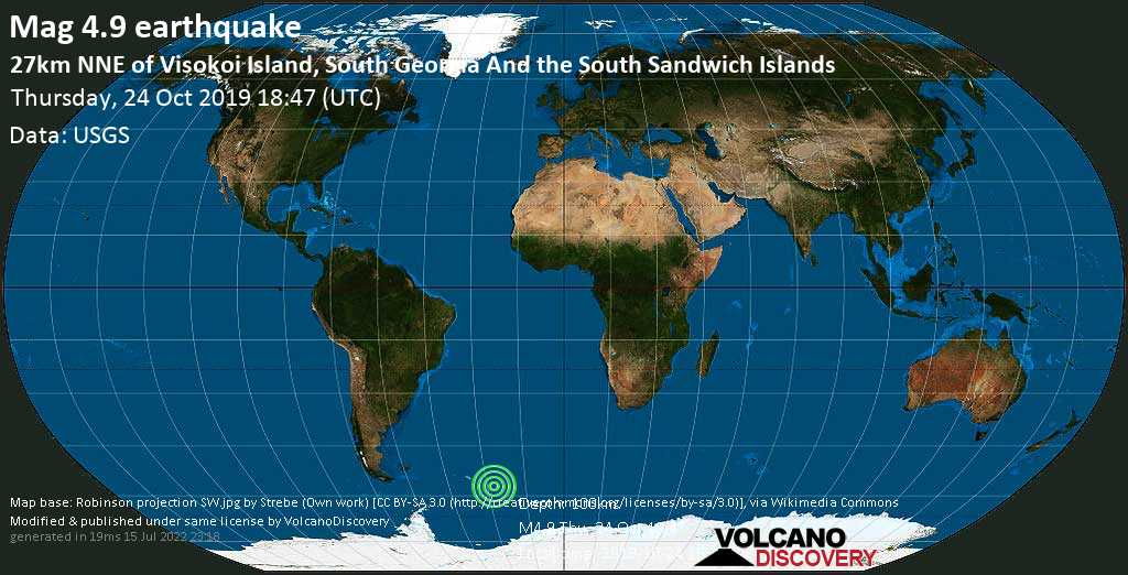 Light mag. 4.9 earthquake  - 27km NNE of Visokoi Island, South Georgia and the South Sandwich Islands on Thursday, 24 October 2019