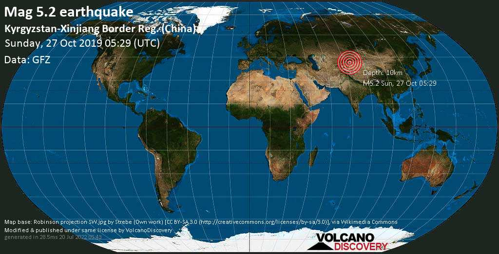 Moderado terremoto magnitud 5.2 - Kyrgyzstan-Xinjiang Border Reg. (China) domingo, 27 oct. 2019