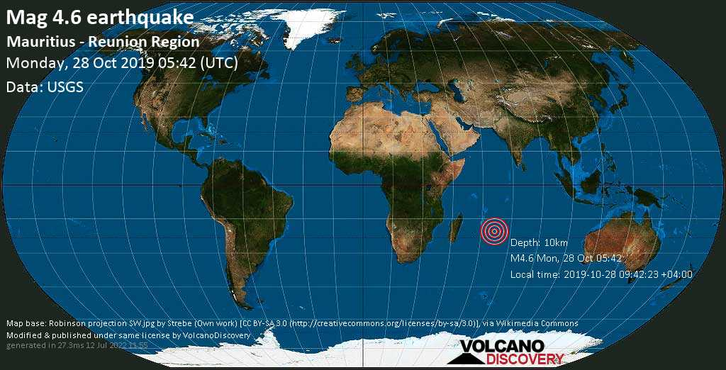 Light mag. 4.6 earthquake  - Mauritius - Reunion region on Monday, 28 October 2019