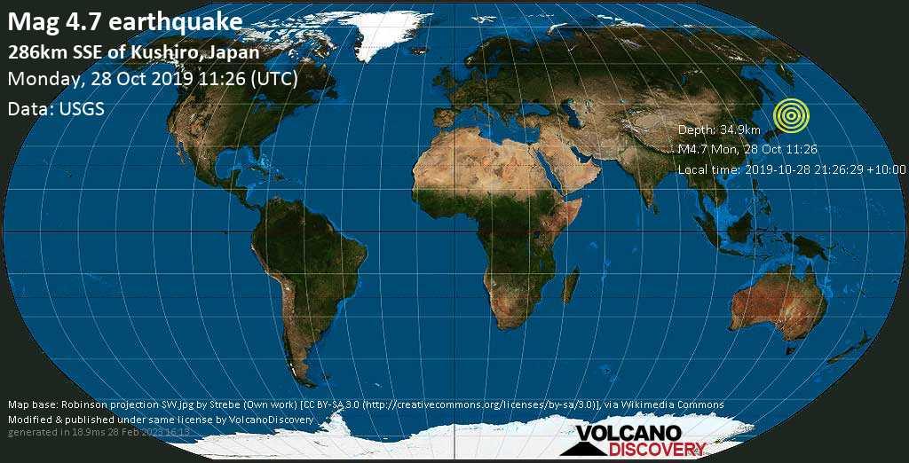 Light mag. 4.7 earthquake  - 286km SSE of Kushiro, Japan on Monday, 28 October 2019