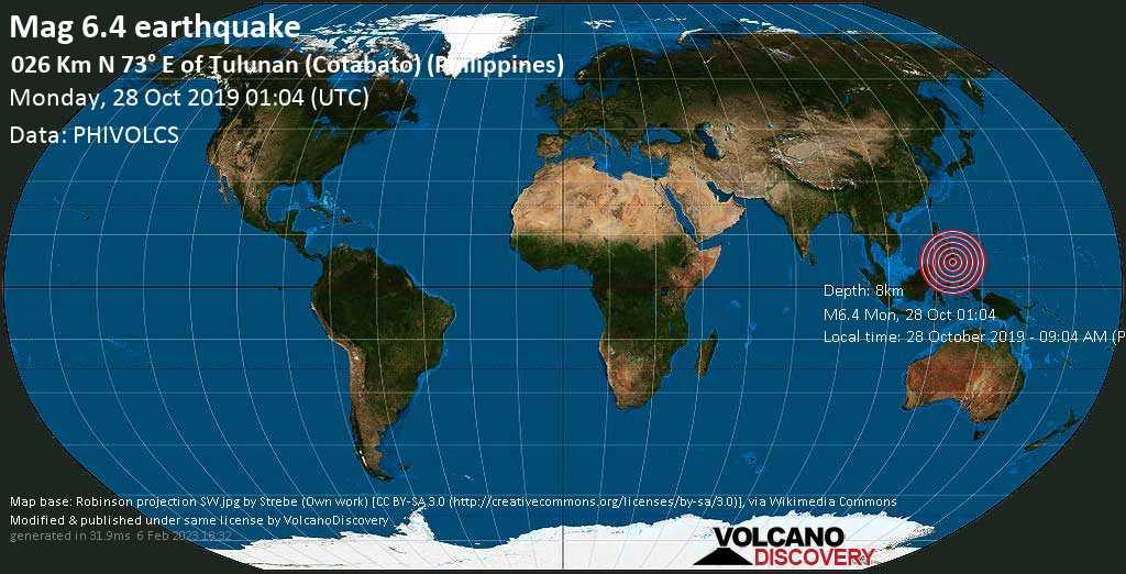 Strong mag. 6.4 earthquake  - 026 km N 73° E of Tulunan (Cotabato) (Philippines) on Monday, 28 October 2019