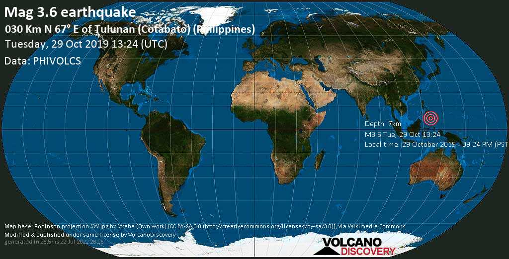 Minor mag. 3.6 earthquake  - 030 km N 67° E of Tulunan (Cotabato) (Philippines) on Tuesday, 29 October 2019