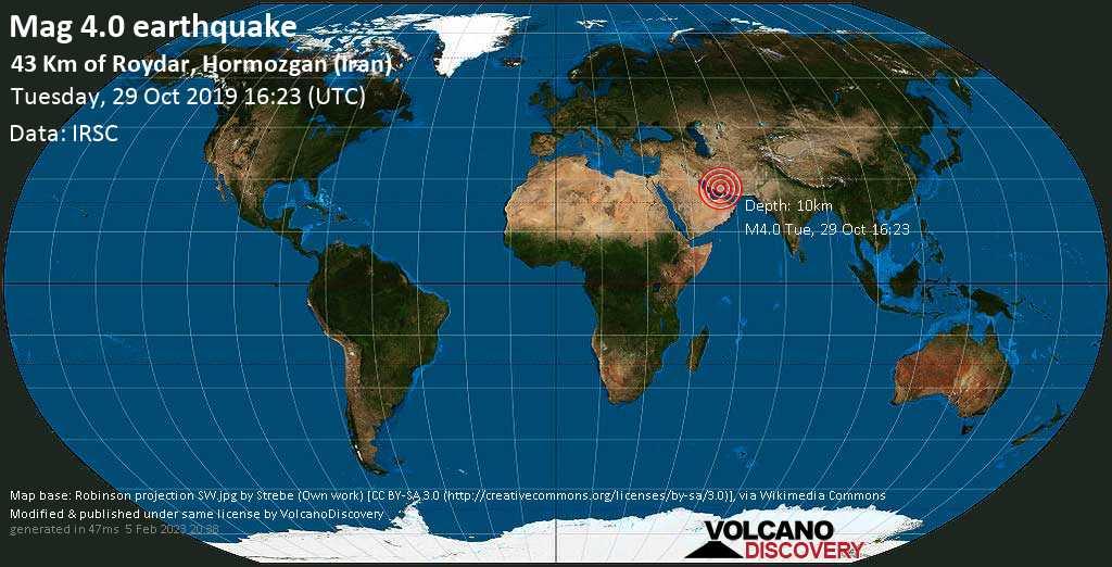 Light mag. 4.0 earthquake  - 43 km of Roydar, Hormozgan (Iran) on Tuesday, 29 October 2019