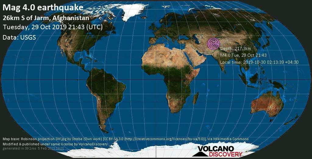 Light mag. 4.0 earthquake  - 26km S of Jarm, Afghanistan on Tuesday, 29 October 2019