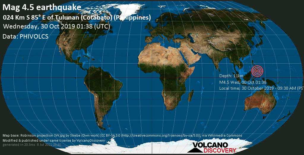 Light mag. 4.5 earthquake  - 024 km S 85° E of Tulunan (Cotabato) (Philippines) on Wednesday, 30 October 2019