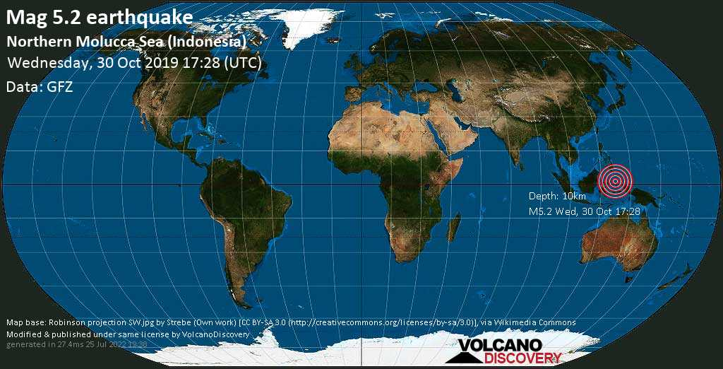 Moderate mag. 5.2 earthquake  - Northern Molucca Sea (Indonesia) on Wednesday, 30 October 2019