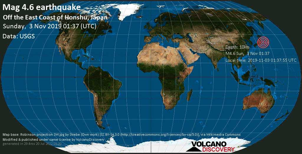 Light mag. 4.6 earthquake  - off the east coast of Honshu, Japan on Sunday, 3 November 2019