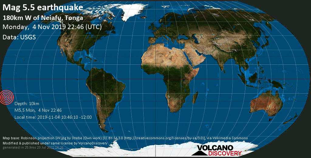 Moderate mag. 5.5 earthquake  - 180km W of Neiafu, Tonga on Monday, 4 November 2019