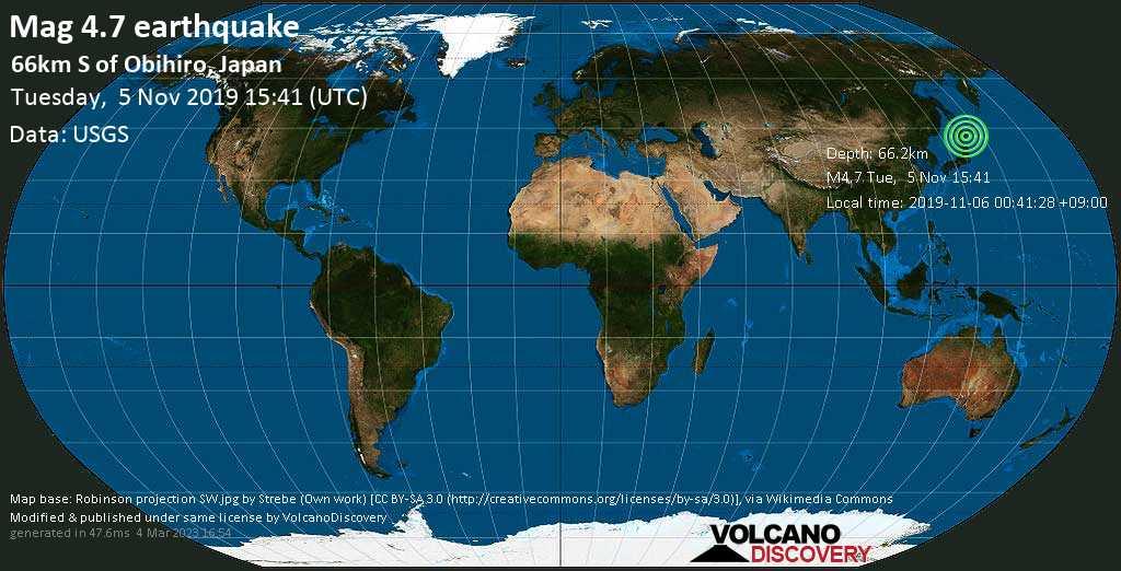 Light mag. 4.7 earthquake  - 66km S of Obihiro, Japan on Tuesday, 5 November 2019