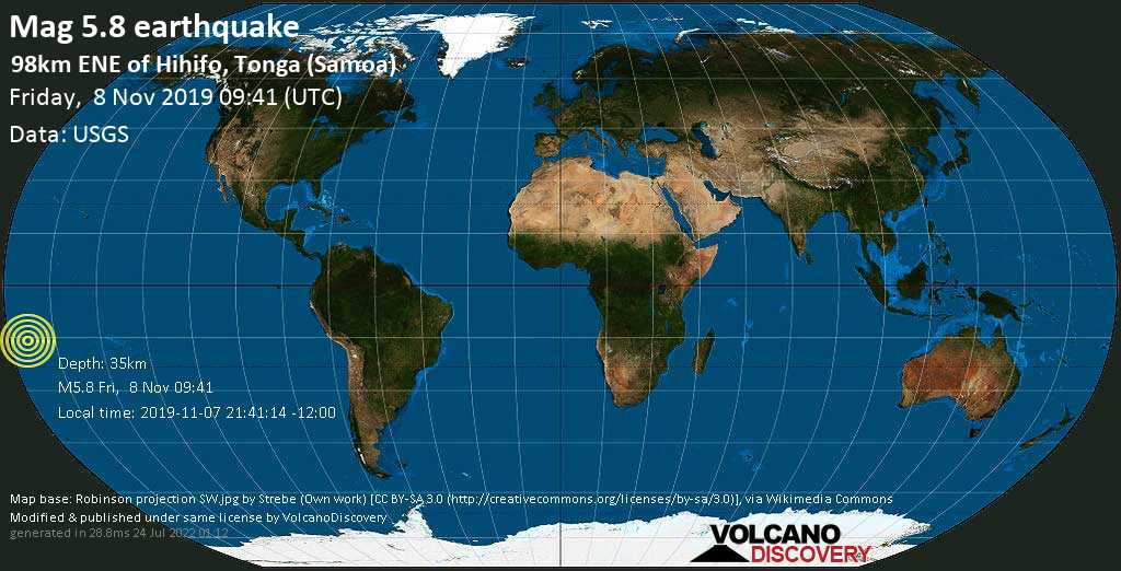 Moderate mag. 5.8 earthquake  - 98km ENE of Hihifo, Tonga (Samoa) on Friday, 8 November 2019