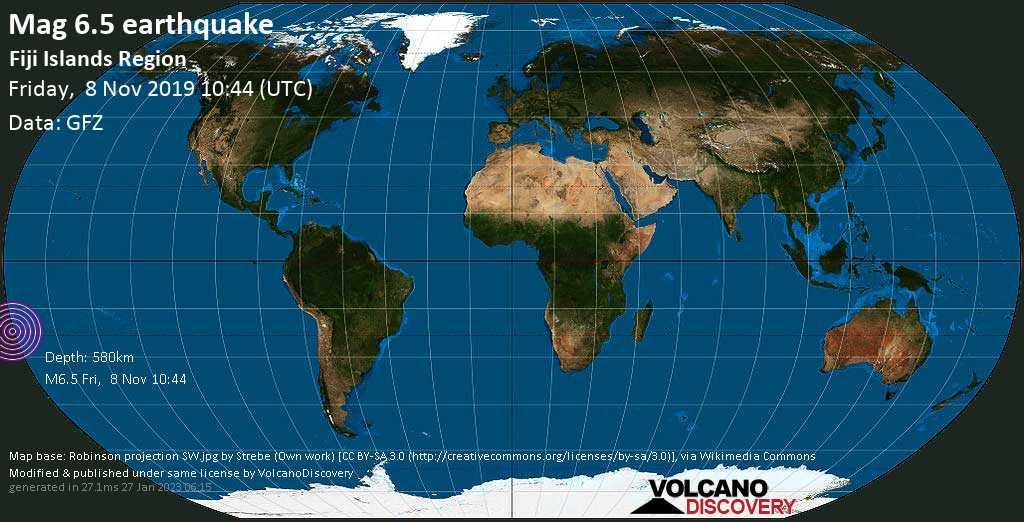 Strong mag. 6.5 earthquake  - Fiji Islands Region on Friday, 8 November 2019