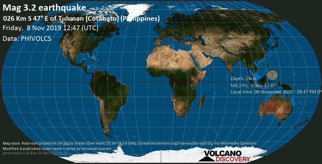 Minor mag. 3.2 earthquake  - 026 km S 47° E of Tulunan (Cotabato) (Philippines) on Friday, 8 November 2019