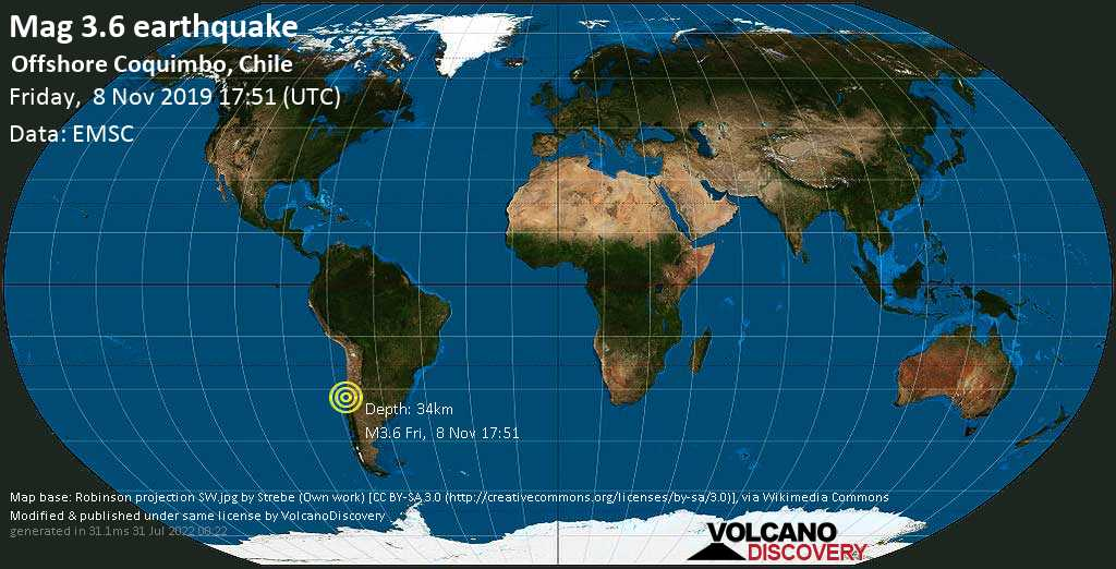 Minor mag. 3.6 earthquake  - Offshore Coquimbo, Chile on Friday, 8 November 2019