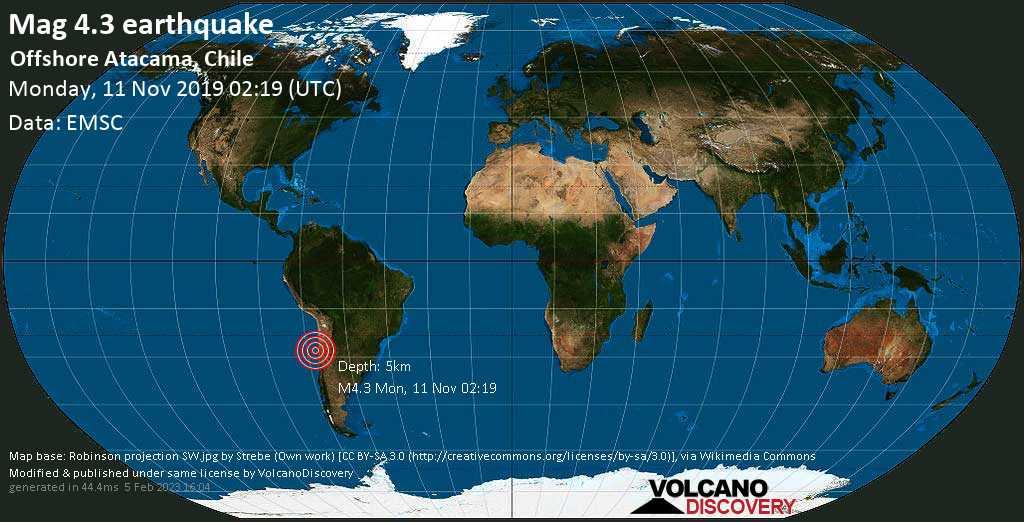 Light mag. 4.3 earthquake  - Offshore Atacama, Chile on Monday, 11 November 2019