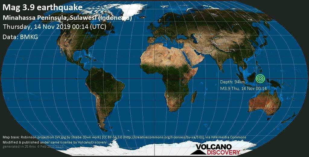 Schwaches Erdbeben der Stärke 3.9 - Minahassa Peninsula, Sulawesi (Indonesia) am Donnerstag, 14. Nov. 2019
